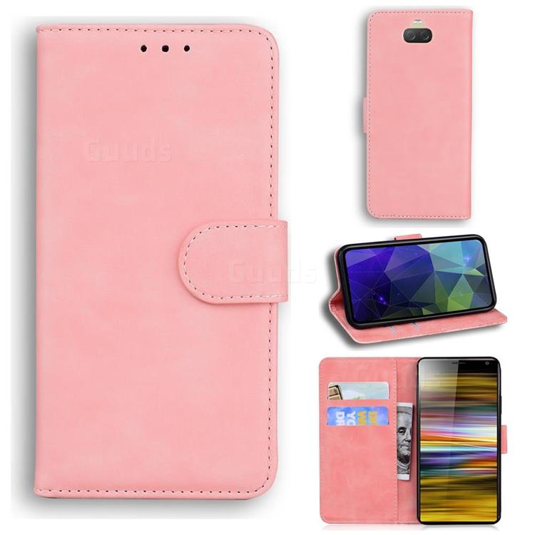 Retro Classic Skin Feel Leather Wallet Phone Case for Sony Xperia 10 Plus / Xperia XA3 Ultra - Pink