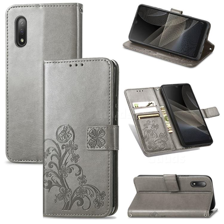 Embossing Imprint Four-Leaf Clover Leather Wallet Case for Sony Xperia Ace 2 ( Ace II) - Grey
