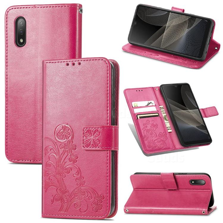Embossing Imprint Four-Leaf Clover Leather Wallet Case for Sony Xperia Ace 2 ( Ace II) - Rose Red