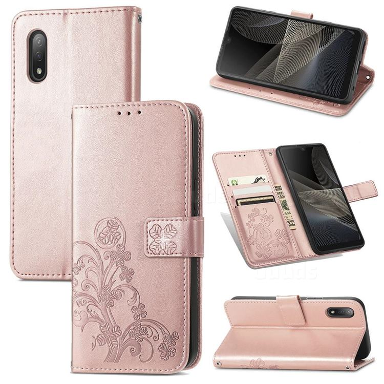 Embossing Imprint Four-Leaf Clover Leather Wallet Case for Sony Xperia Ace 2 ( Ace II) - Rose Gold