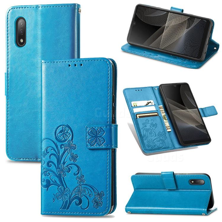 Embossing Imprint Four-Leaf Clover Leather Wallet Case for Sony Xperia Ace 2 ( Ace II) - Blue