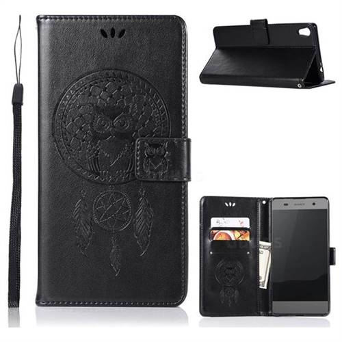 Intricate Embossing Owl Campanula Leather Wallet Case for Sony Xperia XA Ultra - Black