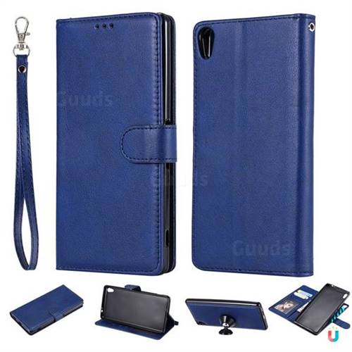 Retro Greek Detachable Magnetic PU Leather Wallet Phone Case for Sony Xperia XA Ultra - Blue