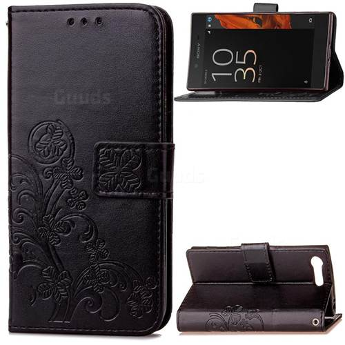 Embossing Imprint Four-Leaf Clover Leather Wallet Case for Sony Xperia X Compact - Black
