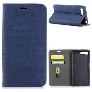 Tree Bark Pattern Automatic suction Leather Wallet Case for Sony Xperia X Compact X Mini - Blue