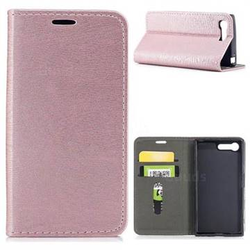 Tree Bark Pattern Automatic suction Leather Wallet Case for Sony Xperia X Compact X Mini - Rose Gold