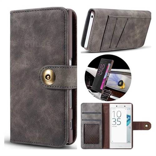 Luxury Vintage Split Separated Leather Wallet Case for Sony Xperia X Compact X Mini - Black