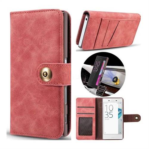 Luxury Vintage Split Separated Leather Wallet Case for Sony Xperia X Compact X Mini - Carmine