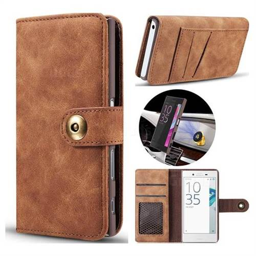Luxury Vintage Split Separated Leather Wallet Case for Sony Xperia X Compact X Mini - Brown