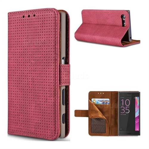 Luxury Vintage Mesh Monternet Leather Wallet Case for Sony Xperia X Compact X Mini - Rose