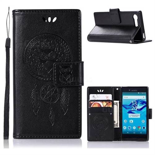 Intricate Embossing Owl Campanula Leather Wallet Case for Sony Xperia X Compact X Mini - Black