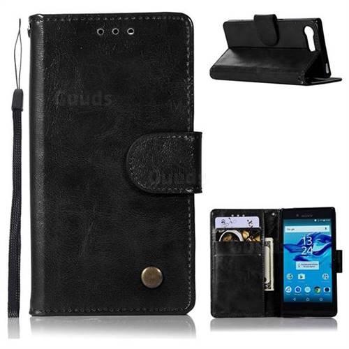 Luxury Retro Leather Wallet Case for Sony Xperia X Compact X Mini - Black