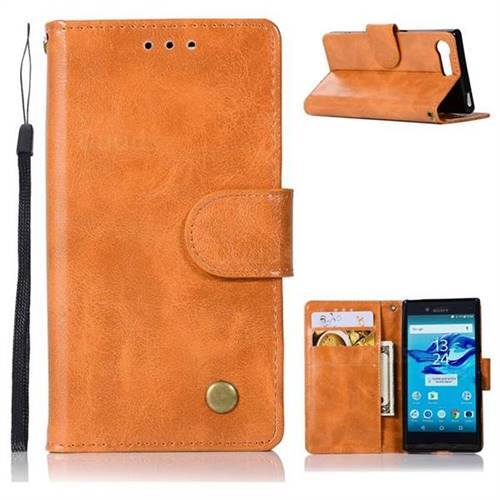 Luxury Retro Leather Wallet Case for Sony Xperia X Compact X Mini - Golden