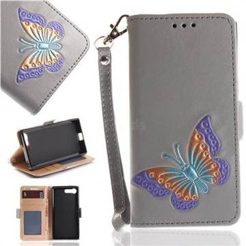 Imprint Embossing Butterfly Leather Wallet Case for Sony Xperia X Compact X Mini - Grey