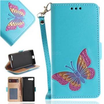 Imprint Embossing Butterfly Leather Wallet Case for Sony Xperia X Compact X Mini - Sky Blue