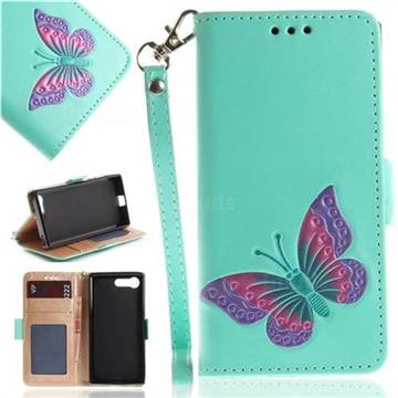 Imprint Embossing Butterfly Leather Wallet Case for Sony Xperia X Compact X Mini - Mint Green
