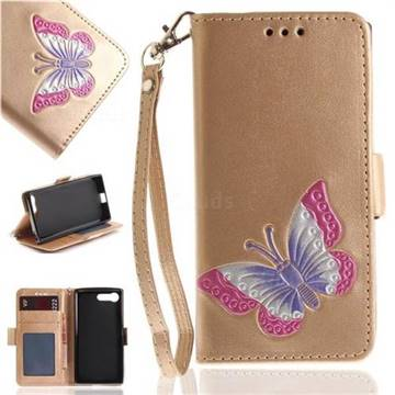 Imprint Embossing Butterfly Leather Wallet Case for Sony Xperia X Compact X Mini - Golden
