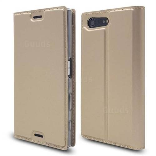 Ultra Slim Card Magnetic Automatic Suction Leather Wallet Case for Sony Xperia X Compact X Mini - Champagne