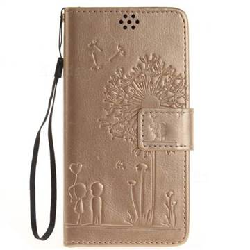 Embossing Couple Dandelion Leather Wallet Case for Sony Xperia X Performance - Champagne
