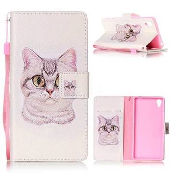 Lovely Cat Leather Wallet Phone Case for Sony Xperia X Performance