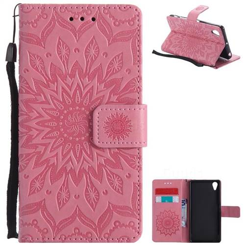 Embossing Sunflower Leather Wallet Case for Sony Xperia X Performance - Pink