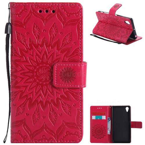 Embossing Sunflower Leather Wallet Case for Sony Xperia X Performance - Red