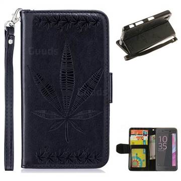 Intricate Embossing Maple Leather Wallet Case for Sony Xperia X Performance - Black