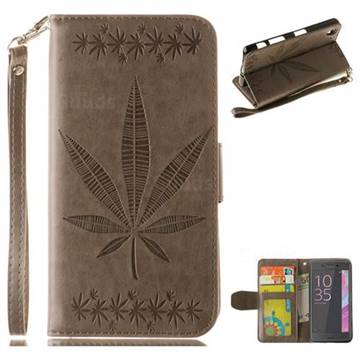 Intricate Embossing Maple Leather Wallet Case for Sony Xperia X Performance - Gray