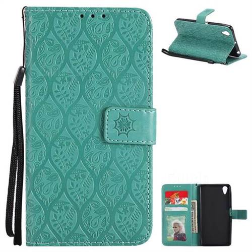 Intricate Embossing Rattan Flower Leather Wallet Case for Sony Xperia X Performance - Green