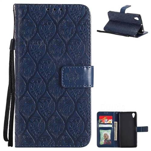 Intricate Embossing Rattan Flower Leather Wallet Case for Sony Xperia X Performance - Navy