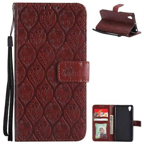 Intricate Embossing Rattan Flower Leather Wallet Case for Sony Xperia X Performance - Brown
