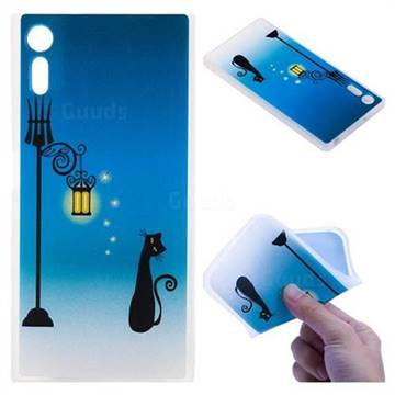 Street Light Cat 3D Relief Matte Soft TPU Back Cover for Sony Xperia XZ XZs