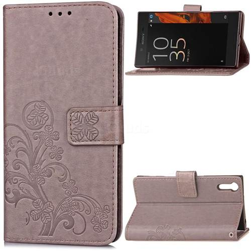 Embossing Imprint Four-Leaf Clover Leather Wallet Case for Sony Xperia XZ / XZ Dual - Gray
