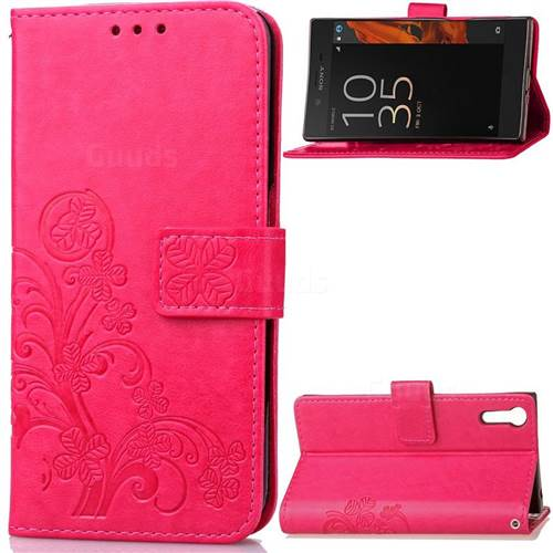 Embossing Imprint Four-Leaf Clover Leather Wallet Case for Sony Xperia XZ / XZ Dual - Rose