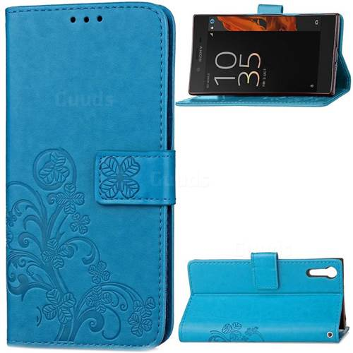 Embossing Imprint Four-Leaf Clover Leather Wallet Case for Sony Xperia XZ / XZ Dual - Blue