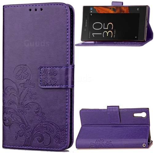 Embossing Imprint Four-Leaf Clover Leather Wallet Case for Sony Xperia XZ / XZ Dual - Purple