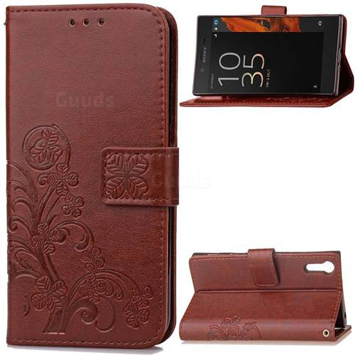 Embossing Imprint Four-Leaf Clover Leather Wallet Case for Sony Xperia XZ / XZ Dual - Brown