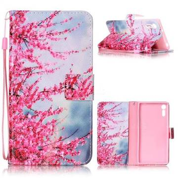 Plum Flower Leather Wallet Phone Case for Sony Xperia XZ