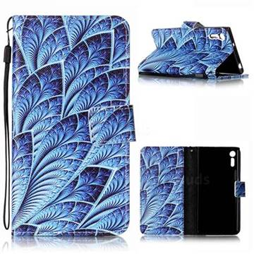 Blue Feather Leather Wallet Phone Case for Sony Xperia XZ