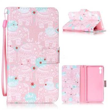 Pink Elephant Leather Wallet Phone Case for Sony Xperia XZ