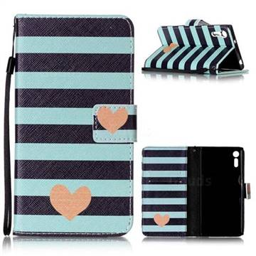 Blue Stripe Heart Leather Wallet Phone Case for Sony Xperia XZ