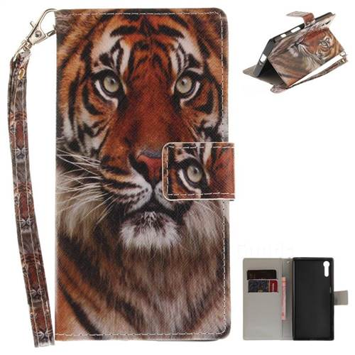 Siberian Tiger Hand Strap Leather Wallet Case for Sony Xperia XZ