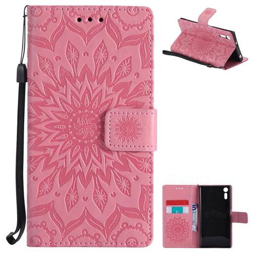 Embossing Sunflower Leather Wallet Case for Sony Xperia XZ - Pink