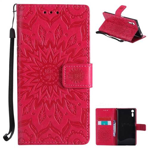 Embossing Sunflower Leather Wallet Case for Sony Xperia XZ - Red