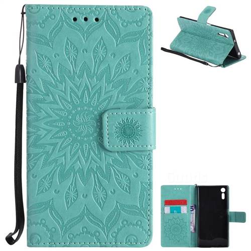 Embossing Sunflower Leather Wallet Case for Sony Xperia XZ - Green