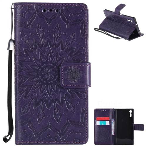 Embossing Sunflower Leather Wallet Case for Sony Xperia XZ - Purple