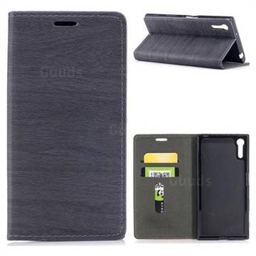 Tree Bark Pattern Automatic suction Leather Wallet Case for Sony Xperia XZ XZs - Gray