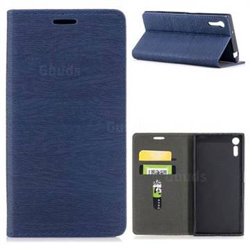 Tree Bark Pattern Automatic suction Leather Wallet Case for Sony Xperia XZ XZs - Blue