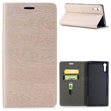 Tree Bark Pattern Automatic suction Leather Wallet Case for Sony Xperia XZ XZs - Champagne Gold