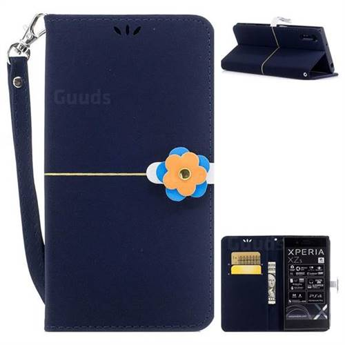Navy blue Gold Velvet Smooth PU Leather Wallet Case for Sony Xperia XZ XZs